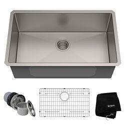 Kraus 30-inch Single Bowl Undermount Kitchen Sink in 16 Gauge Stainless Steel