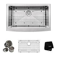 33 Inch Farmhouse Apron Single Bowl 16 gauge Stainless Steel Kitchen Sink