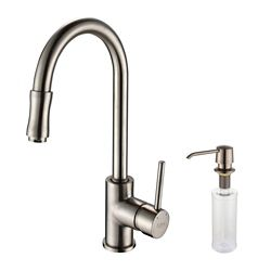 Kraus Single Lever Pull Out Kitchen Faucet and Soap Dispenser Satin Nickel
