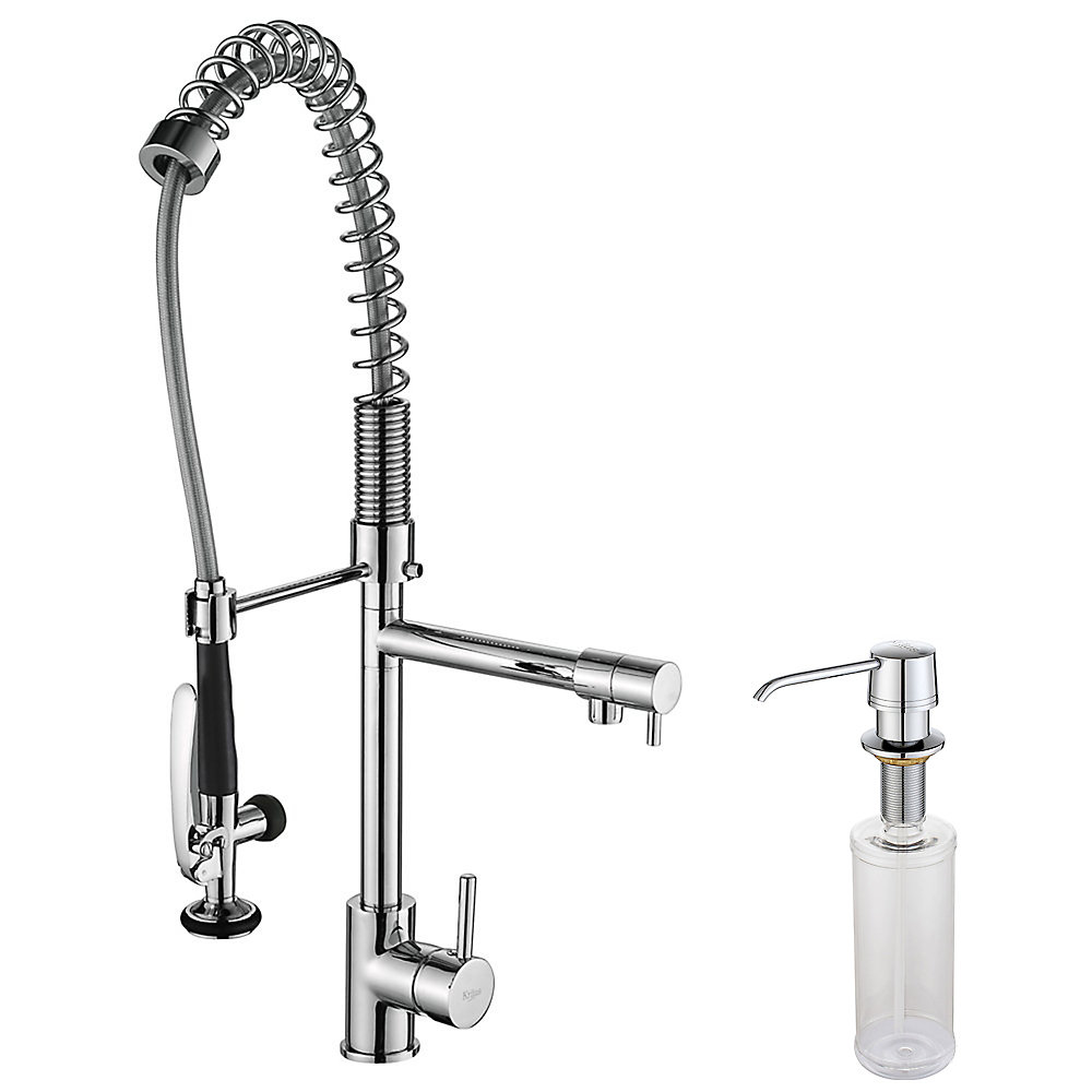 kraus kitchen faucets reviews kraus commercial style single hole kitchen faucet w pull down pre rinse sprayer soap dis 6429