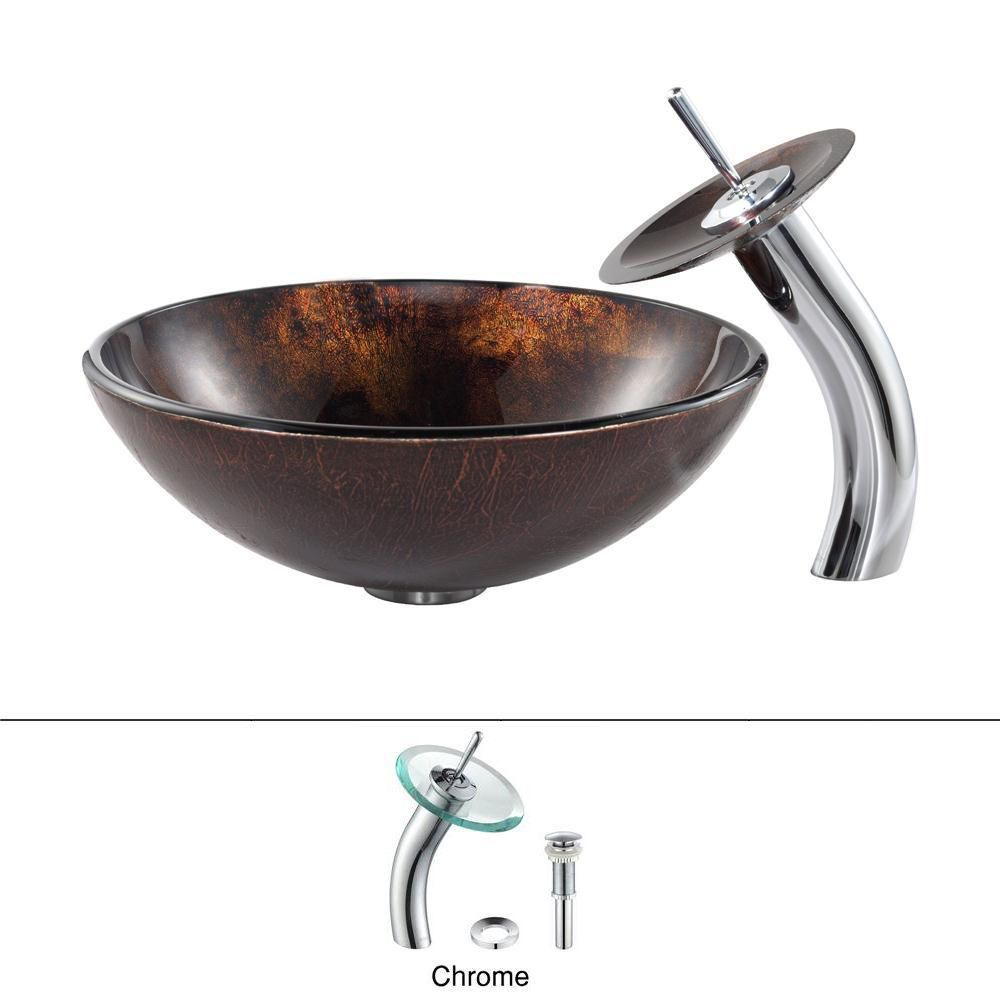 Pluto Glass Vessel Sink with Waterfall Faucet in Chrome