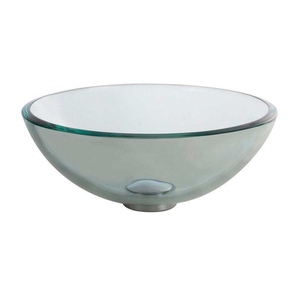 Kraus  Lavabo-vasque en verre transparent de 35,6 cm (14 po)