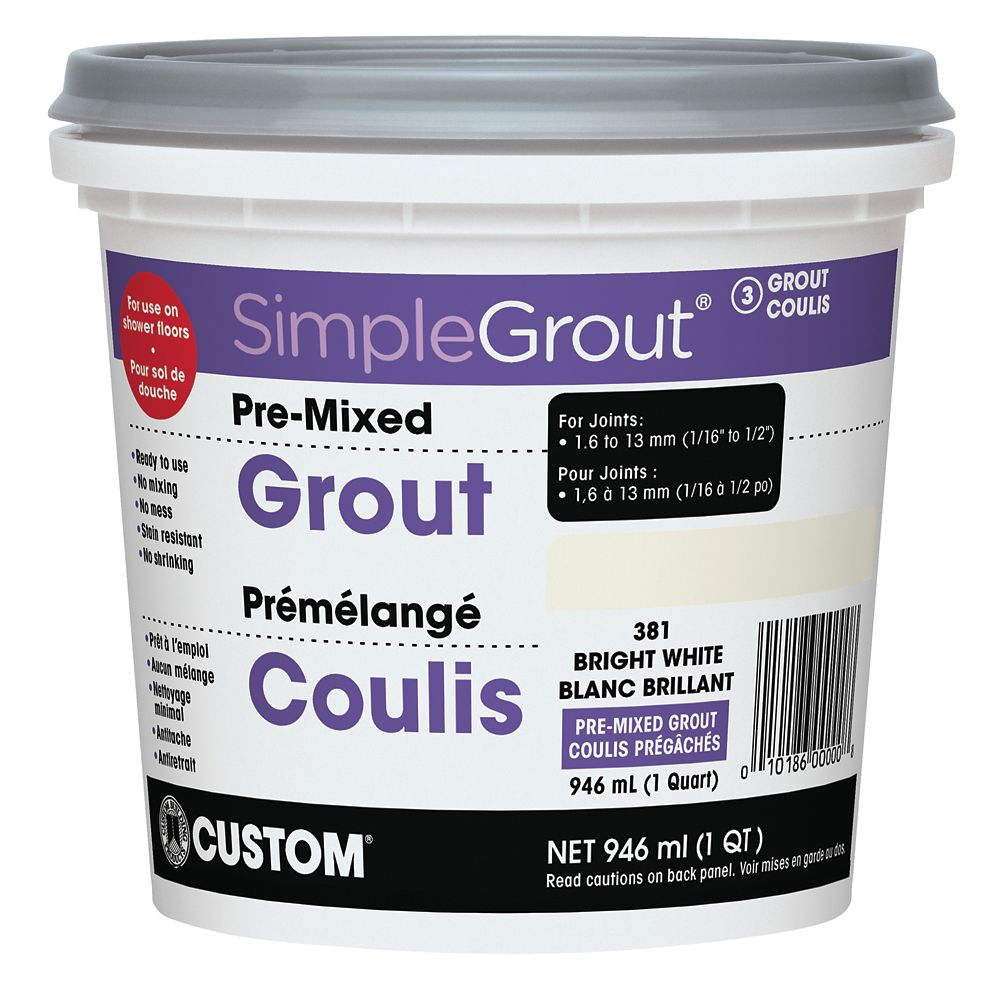 #381 Bright White - Pre-Mixed Grout .946L CPMG381QT Canada Discount