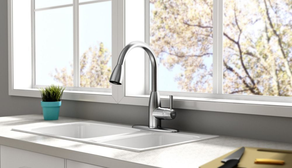 Fairbury Single Handle Pull Down Sprayer Kitchen Faucet - Stainless Steel