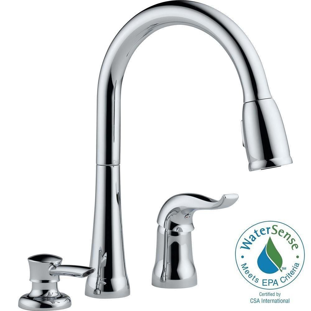 Delta Kate Single Handle Pull Down Kitchen Faucet With Soap Dispenser The Home Depot Canada