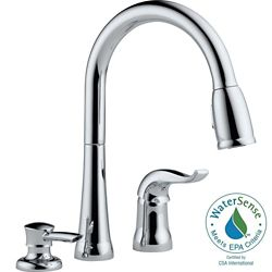 Delta Kate Single Handle Pull-Down Kitchen Faucet with Soap Dispenser in Chrome