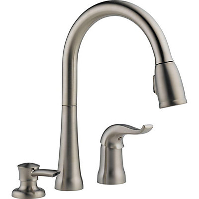faucet delta faucets down product kitchen home bronze trinsic garden pull single out cz champagne dst handle