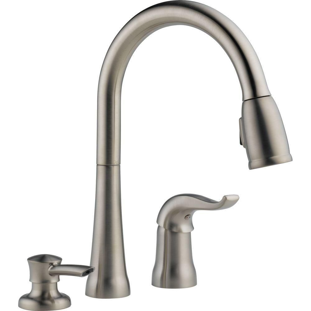 Kate Single Handle Pull-Down Kitchen Faucet With Soap Dispenser
