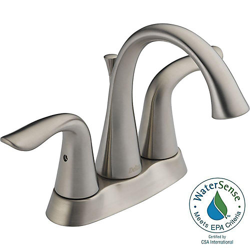 Lahara Centerset (4-inch) 2-Handle Mid Arc Bathroom Faucet in Stainless Steel with Lever Handles