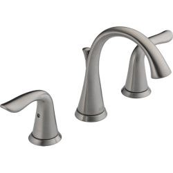 Delta Lahara Widespread (8-inch) 2-Handle Low Arc Bathroom Faucet in Stainless Steel with Lever Handles