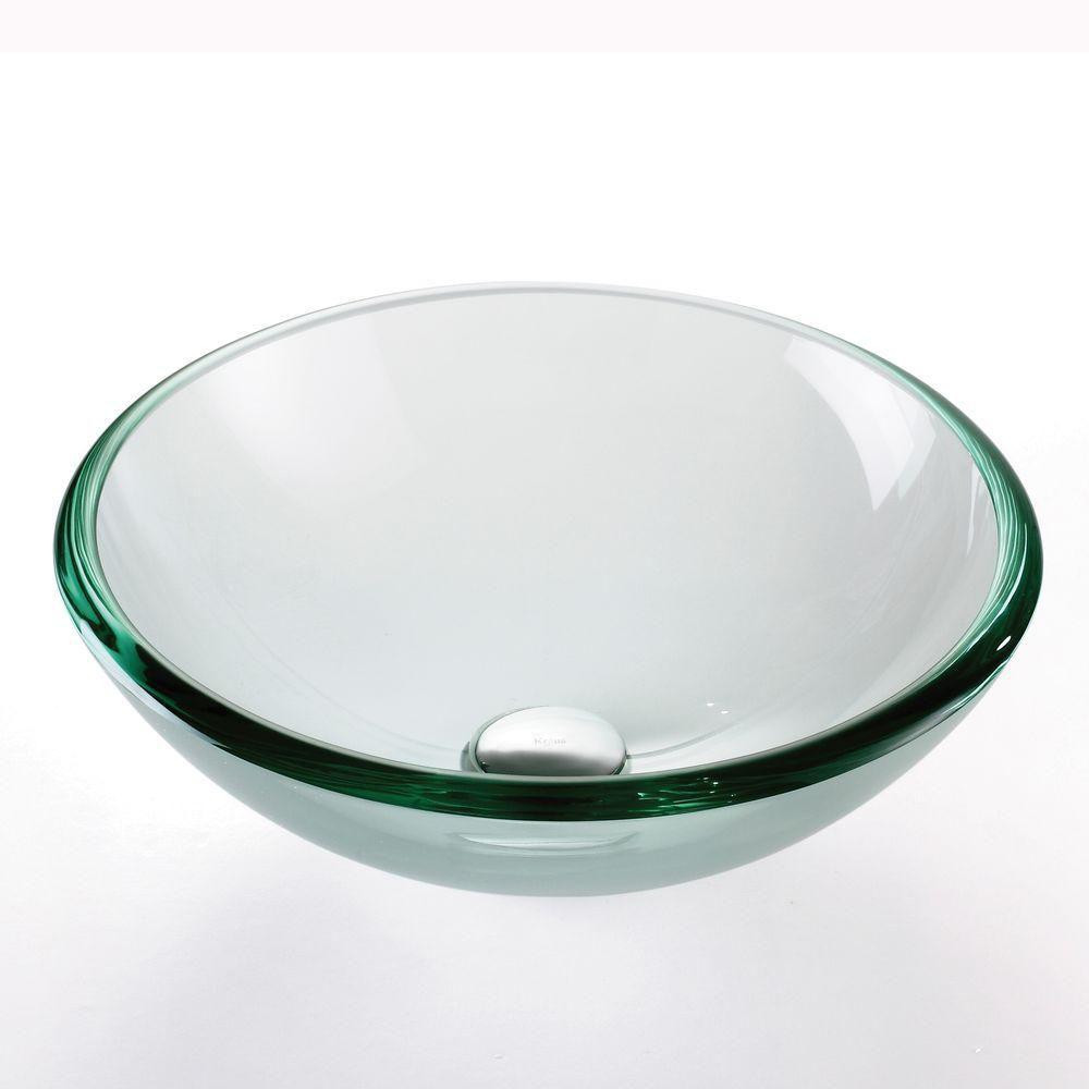 Lavabo-vasque en verre transparent de 19 mm d'épaisseur avec drain escamotable et anneau de monta...