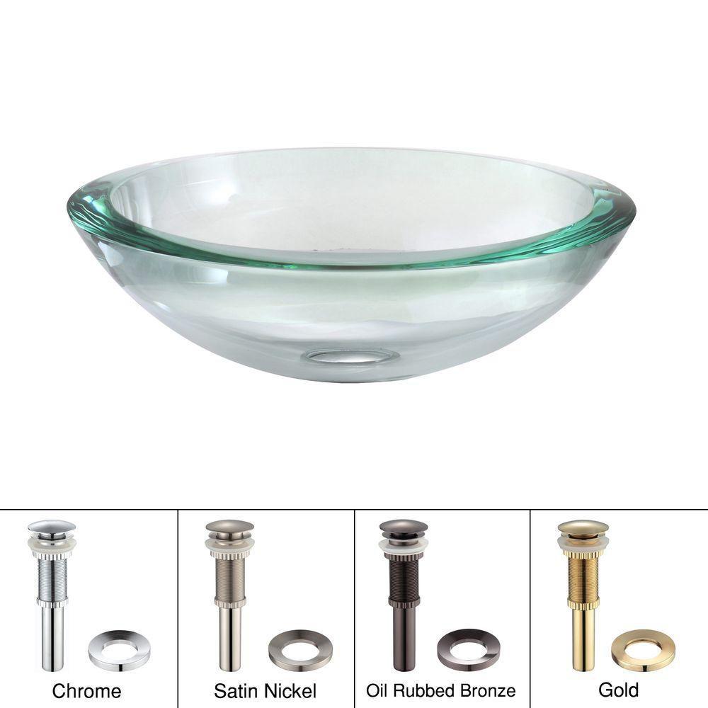 Lavabo-vasque en verre transparent de 34 mm de rebord avec drain escamotable et anneau de montage...