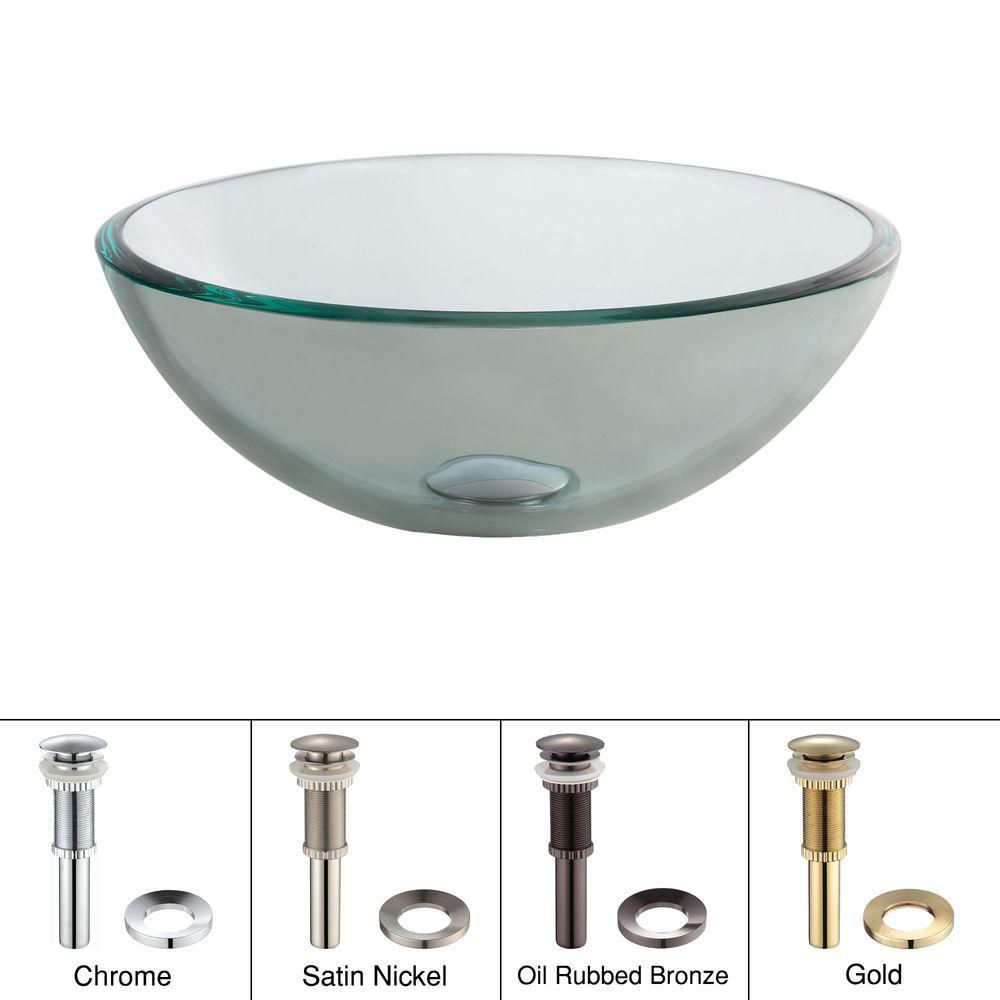 14-inch Clear Glass Vessel Sink with Drain in Satin Nickel