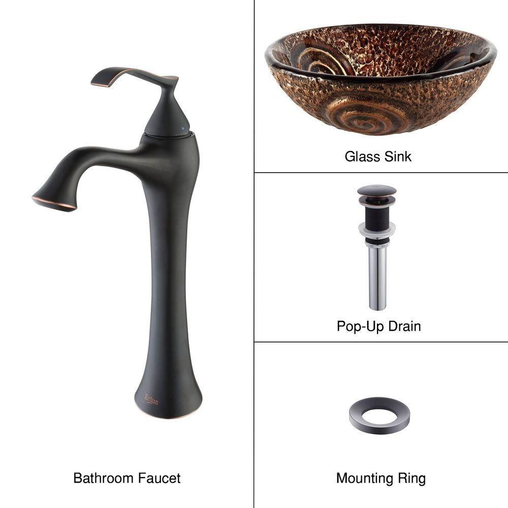 Luna Glass Vessel Sink with Ventus Faucet in Oil-Rubbed Bronze