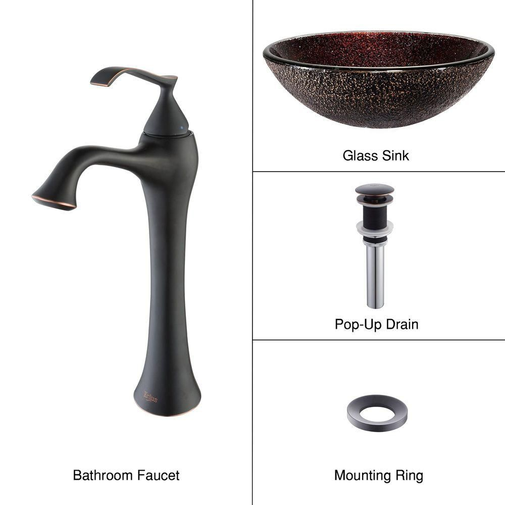 Glass Vessel Sink in Callisto with Ventus Faucet in Oil-Rubbed Bronze