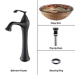 Kraus Lavabo-vasque en verre Ares et robinet Ventus, bronze huilé