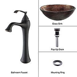 Kraus Lavabo-vasque en verre Illusion cuivré et robinet Ventus, bronze huilé