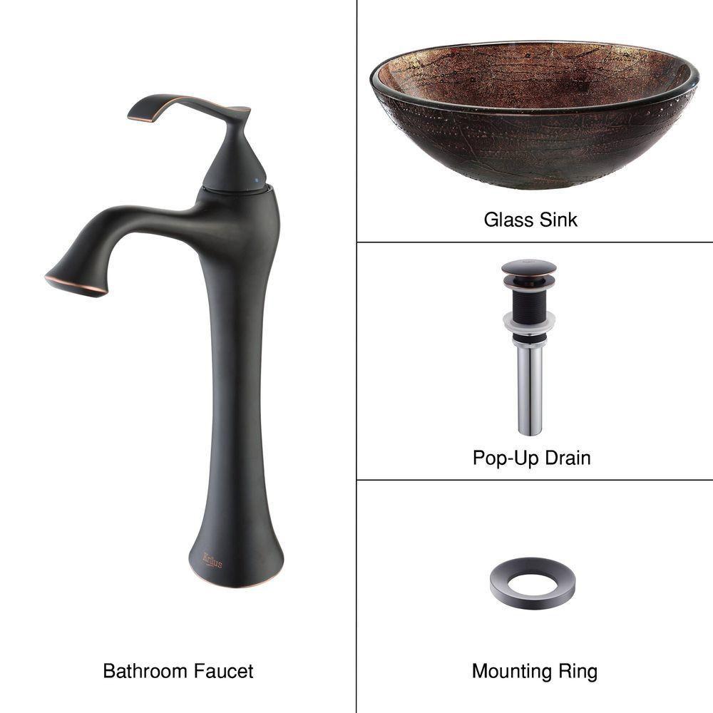 Lavabo-vasque en verre Illusion cuivré et robinet Ventus, bronze huilé