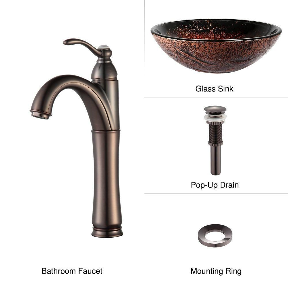 Lava Glass Vessel Sink with Riviera Faucet in Oil-Rubbed Bronze