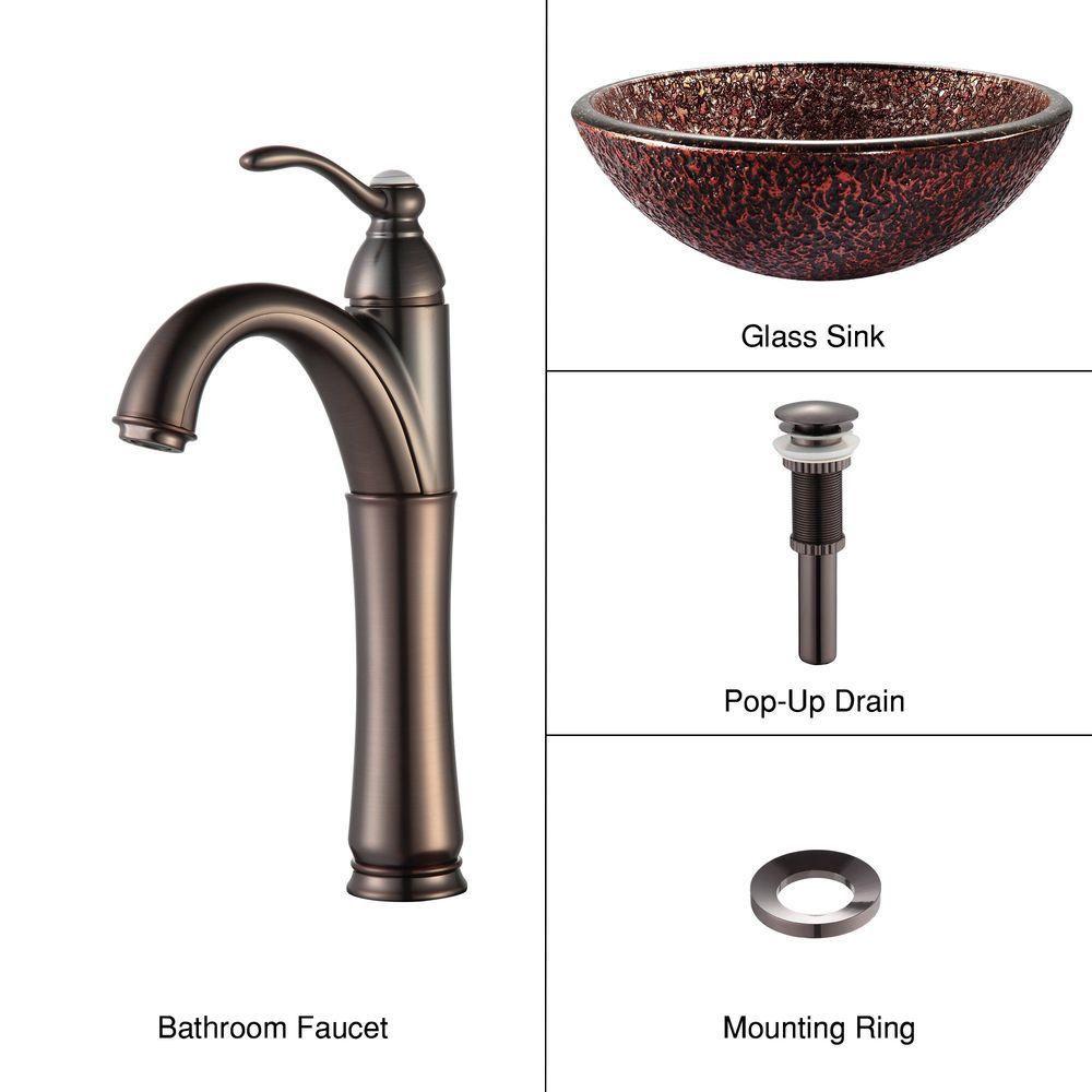 Lavabo-vasque en verre Venus et robinet Riviera, bronze huilé