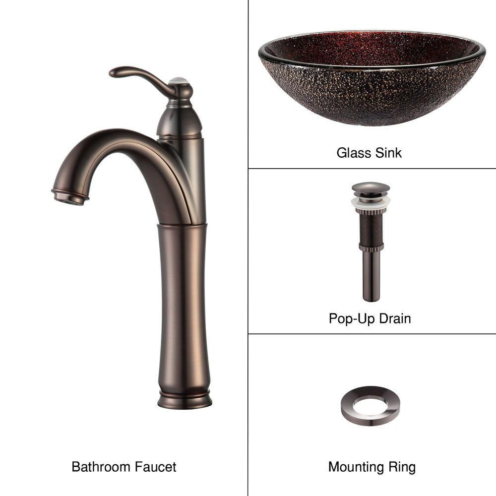 Glass Vessel Sink in Callisto with Riviera Faucet in Oil-Rubbed Bronze