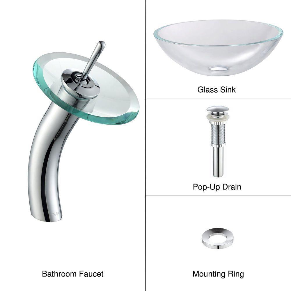 Lavabo-vasque en verre Crystal et robinet à cascade, chrome