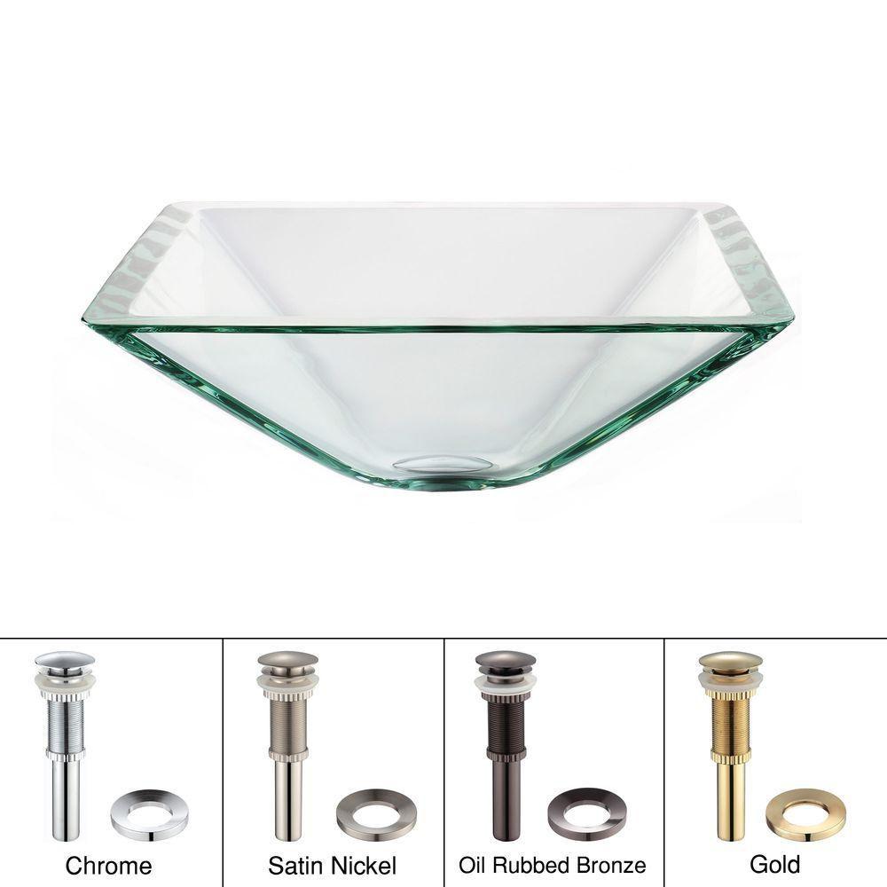 Lavabo-vasque carré en verre transparent aigue-marine avec drain escamotable et anneau de montage...