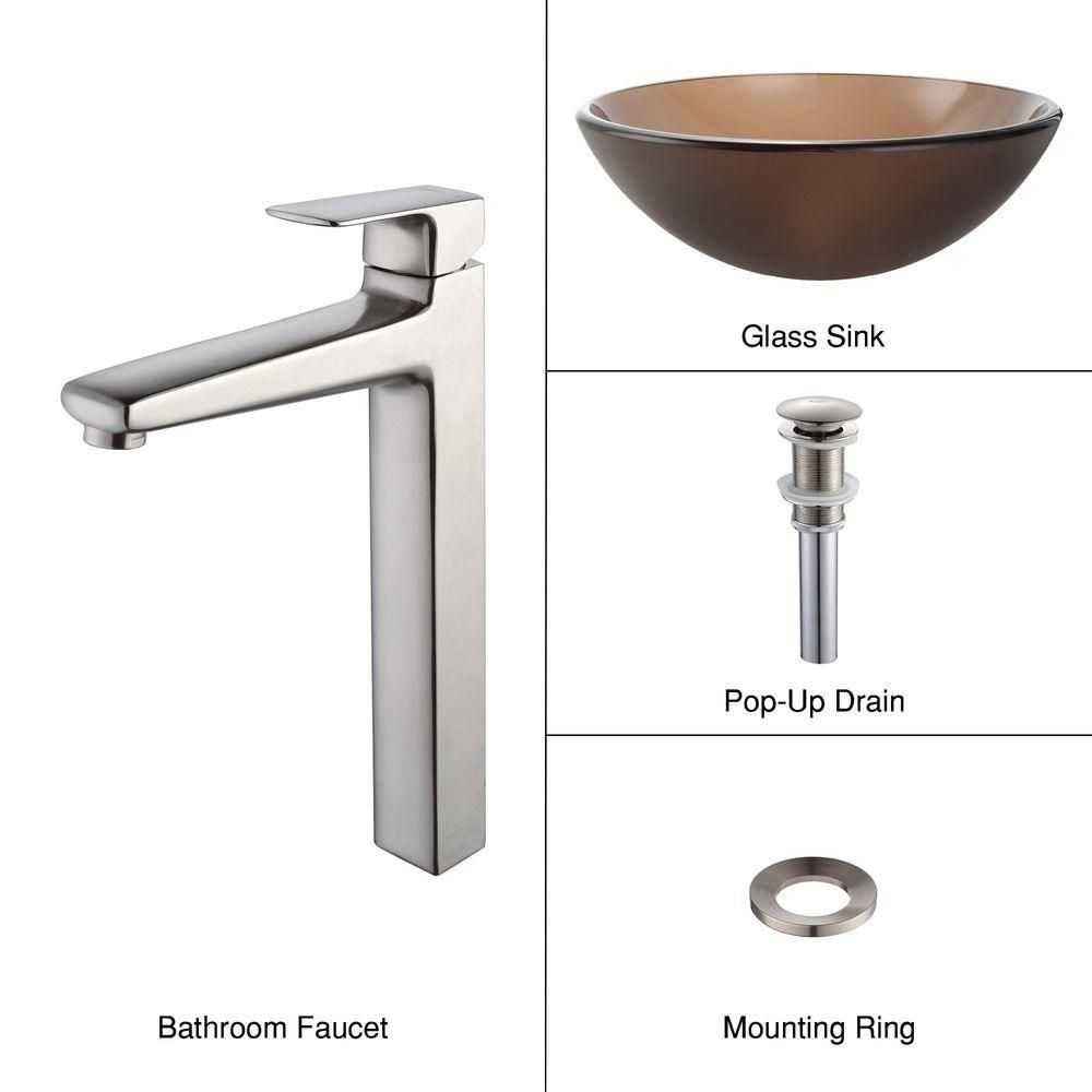 Frosted Glass Vessel Sink in Brown with Virtus Faucet in Brushed Nickel