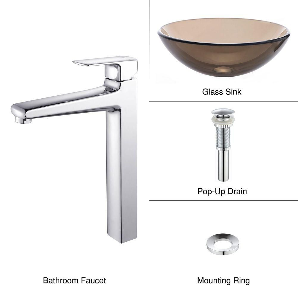 Clear Glass Vessel Sink in Brown with Virtus Faucet in Chrome