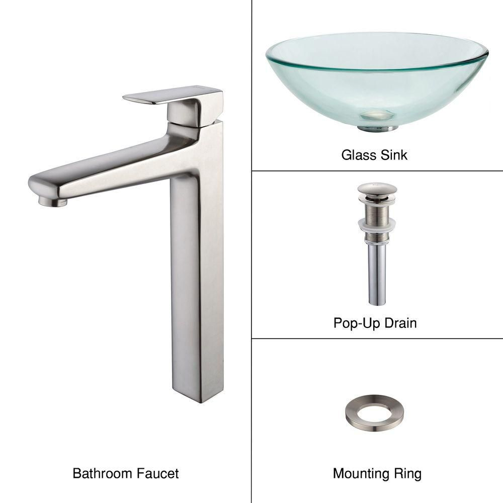 Clear Glass Vessel Sink with Virtus Faucet in Brushed Nickel