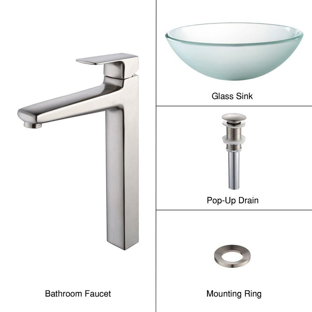 Frosted Glass Vessel Sink with Virtus Faucet in Brushed Nickel