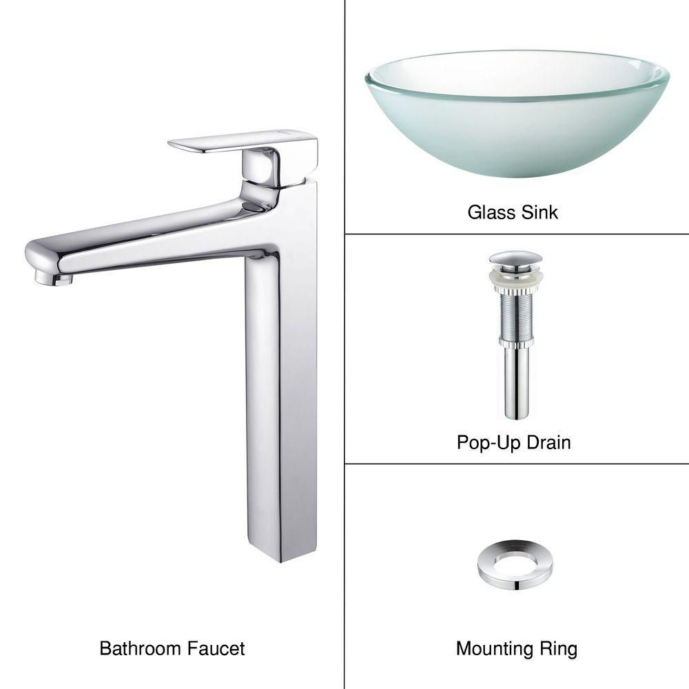 Frosted Glass Vessel Sink with Virtus Faucet in Chrome