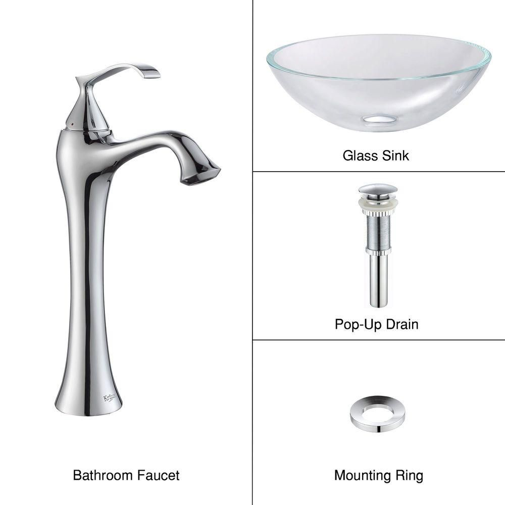 Glass Vessel Sink in Crystal Clear with Ventus Faucet in Chrome