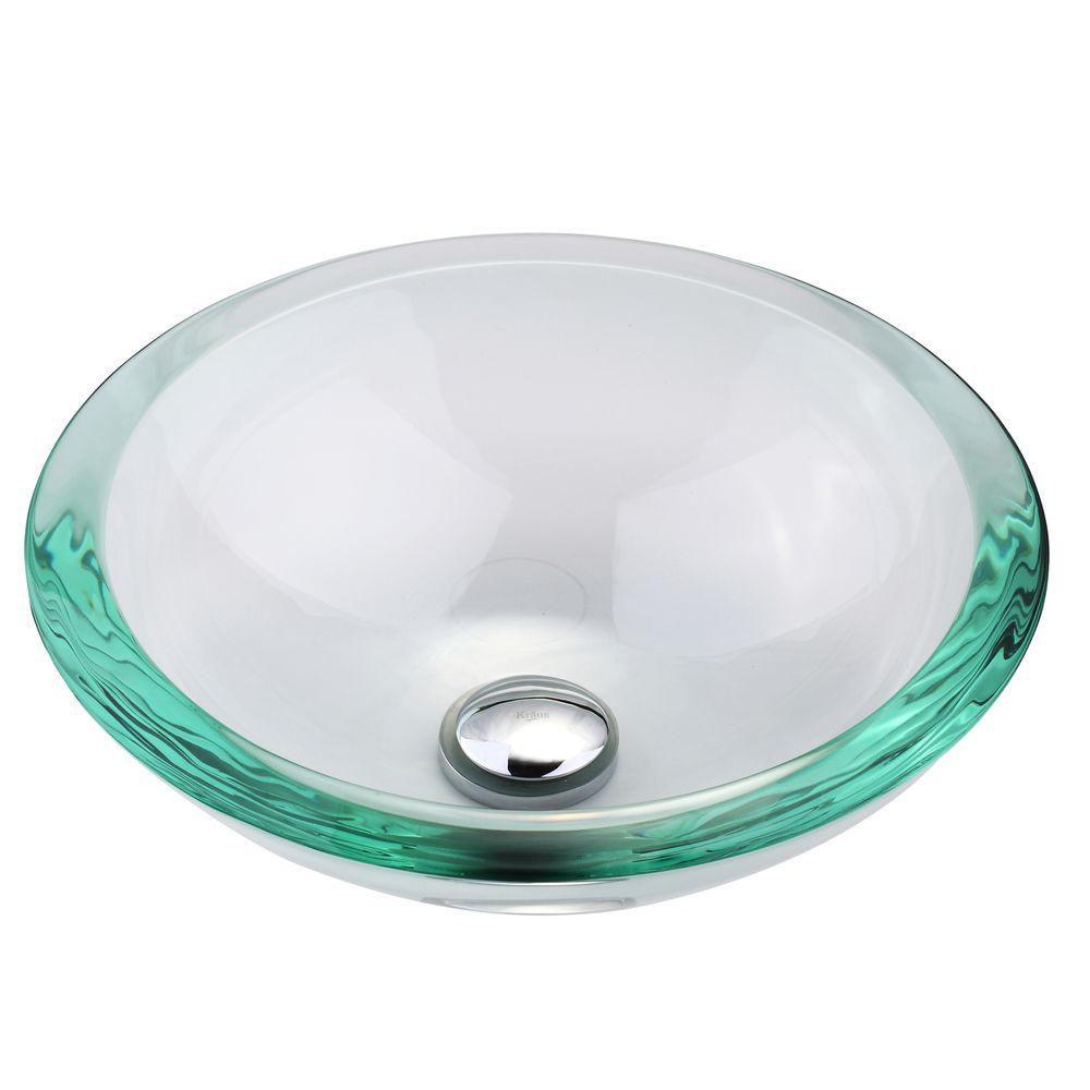 Lavabo-vasque en verre transparent de 34 mm de rebord