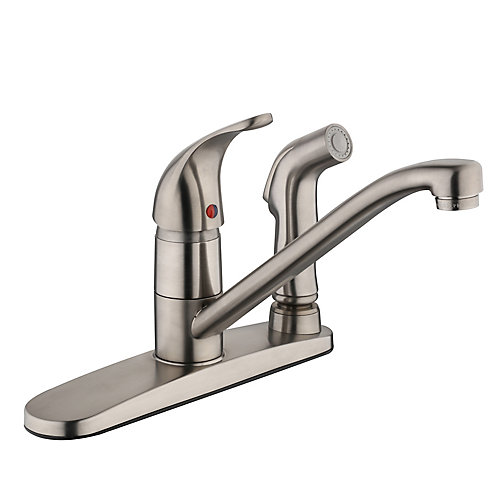 Kitchen Faucet With Side Spray   Glacier Bay 3000 Series Kitchen Faucet With Side Spray Brushed