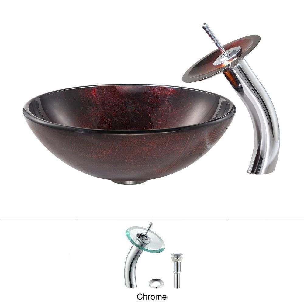 Saturn Glass Vessel Sink with Waterfall Faucet in Chrome