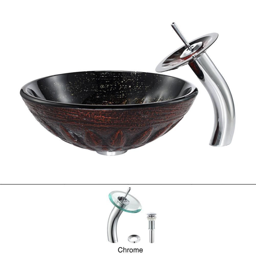 Magma Glass Vessel Sink with Waterfall Faucet in Chrome