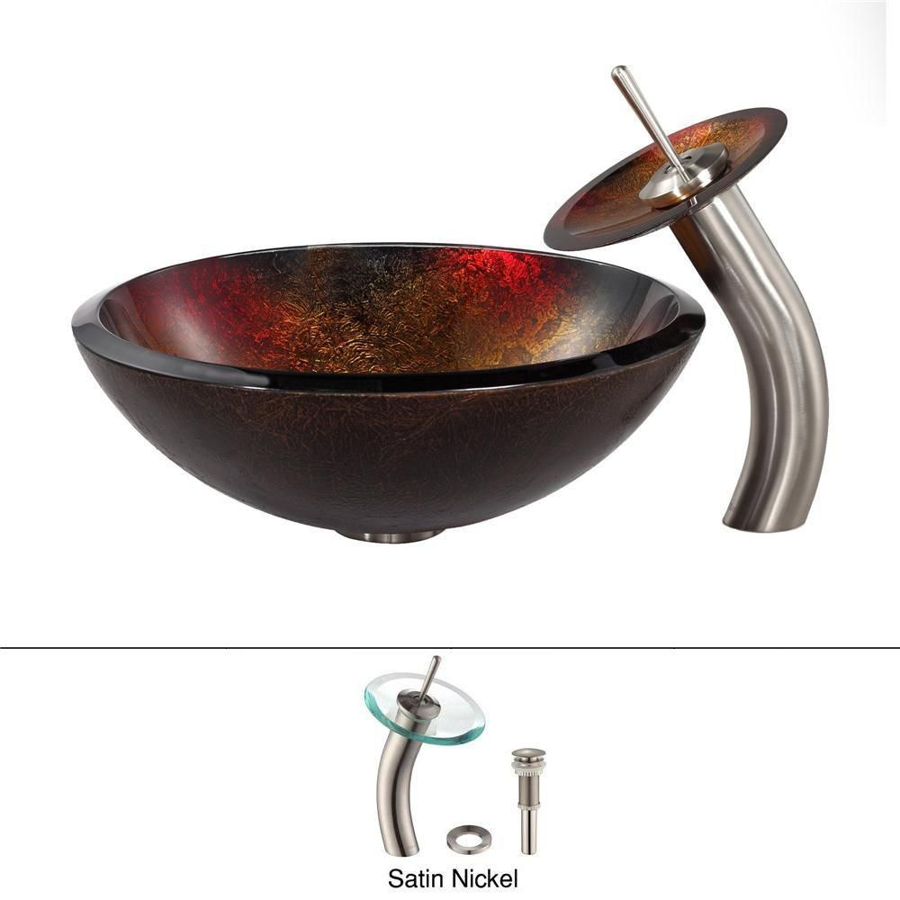 Lavabo-vasque en verre Mercury et robinet à cascade, nickel satiné