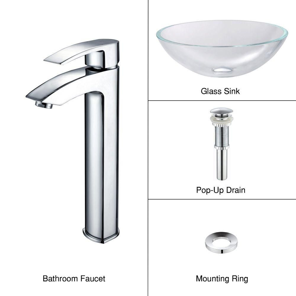Glass Vessel Sink in Crystal Clear with Visio Faucet in Chrome