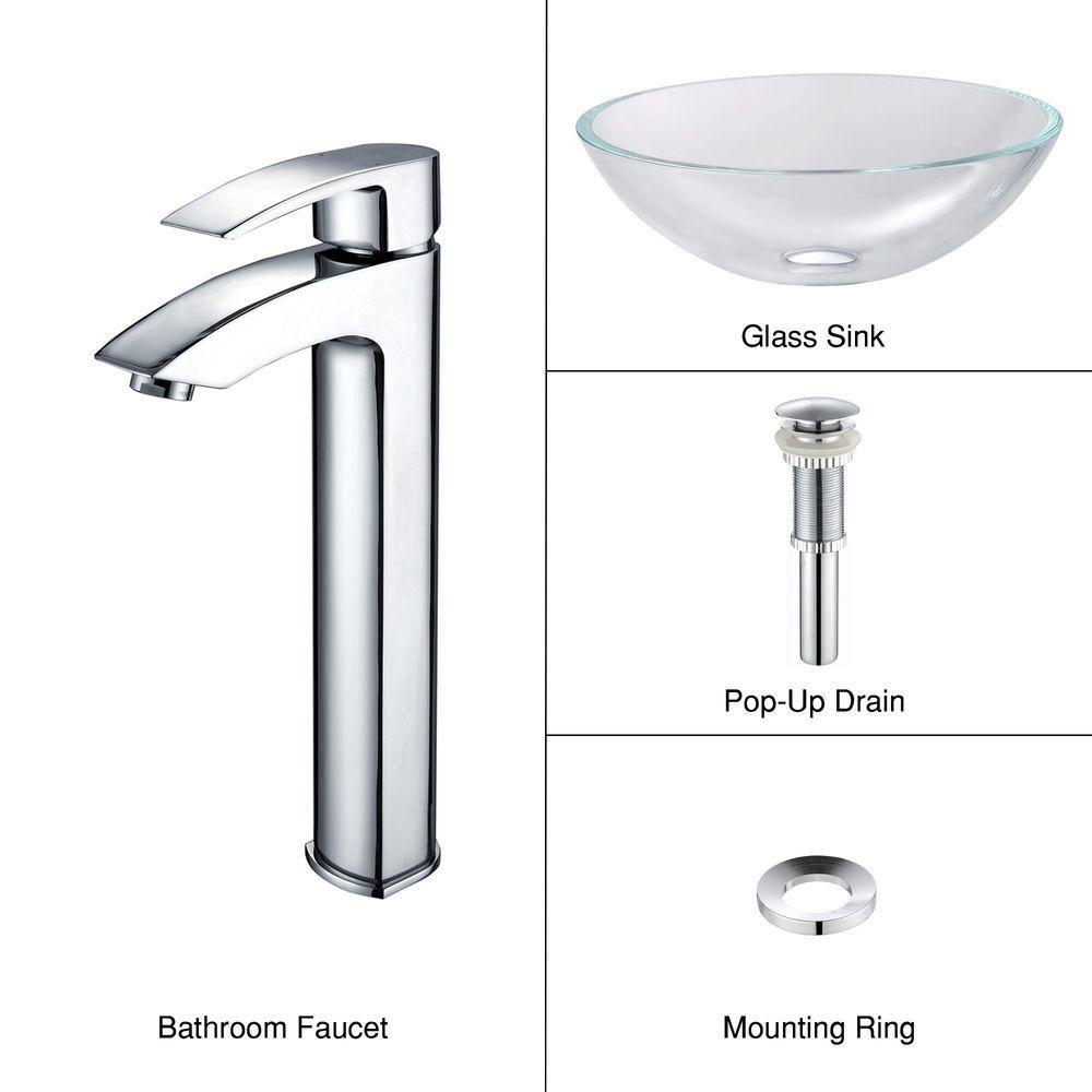 Lavabo-vasque en verre Crystal et robinet Visio, chrome