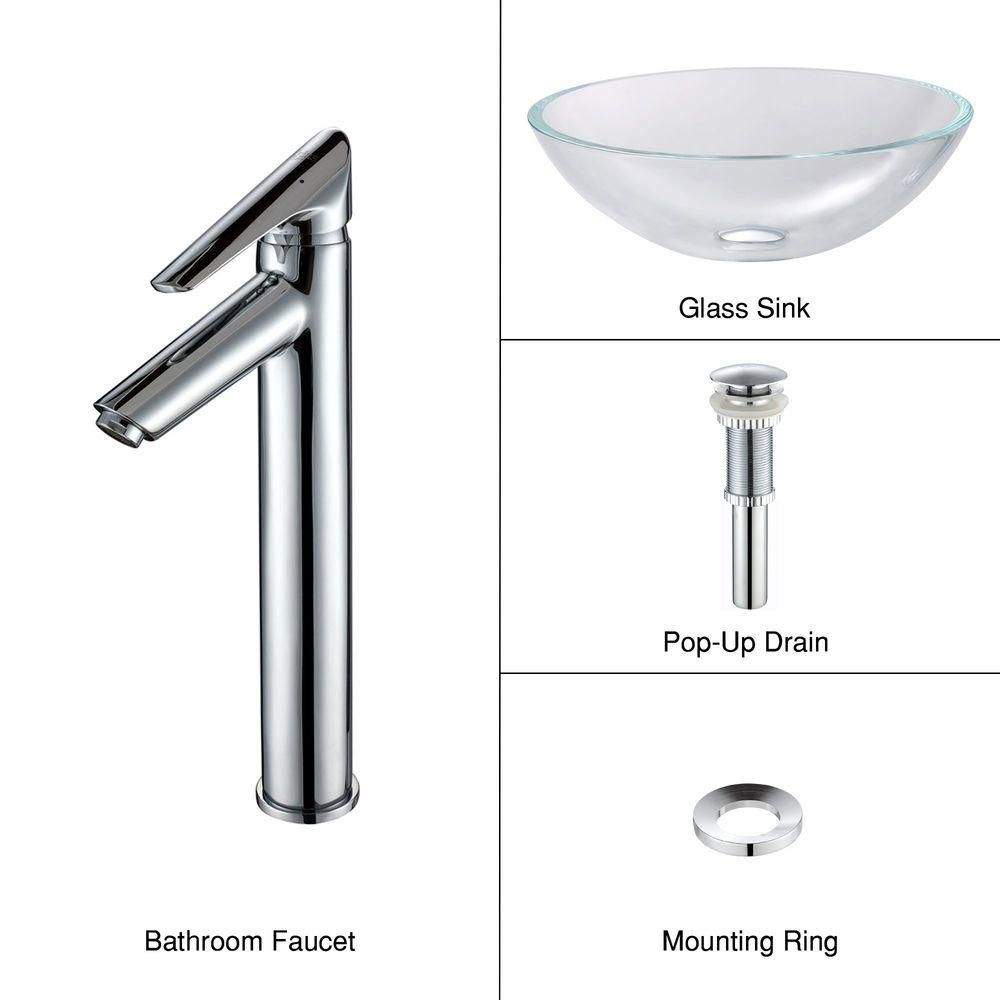 Glass Vessel Sink in Crystal Clear with Decus Faucet in Chrome