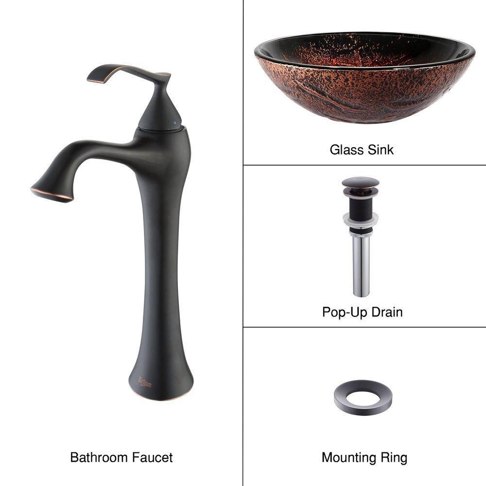 Lavabo-vasque en verre Lava et robinet Ventus, bronze huilé