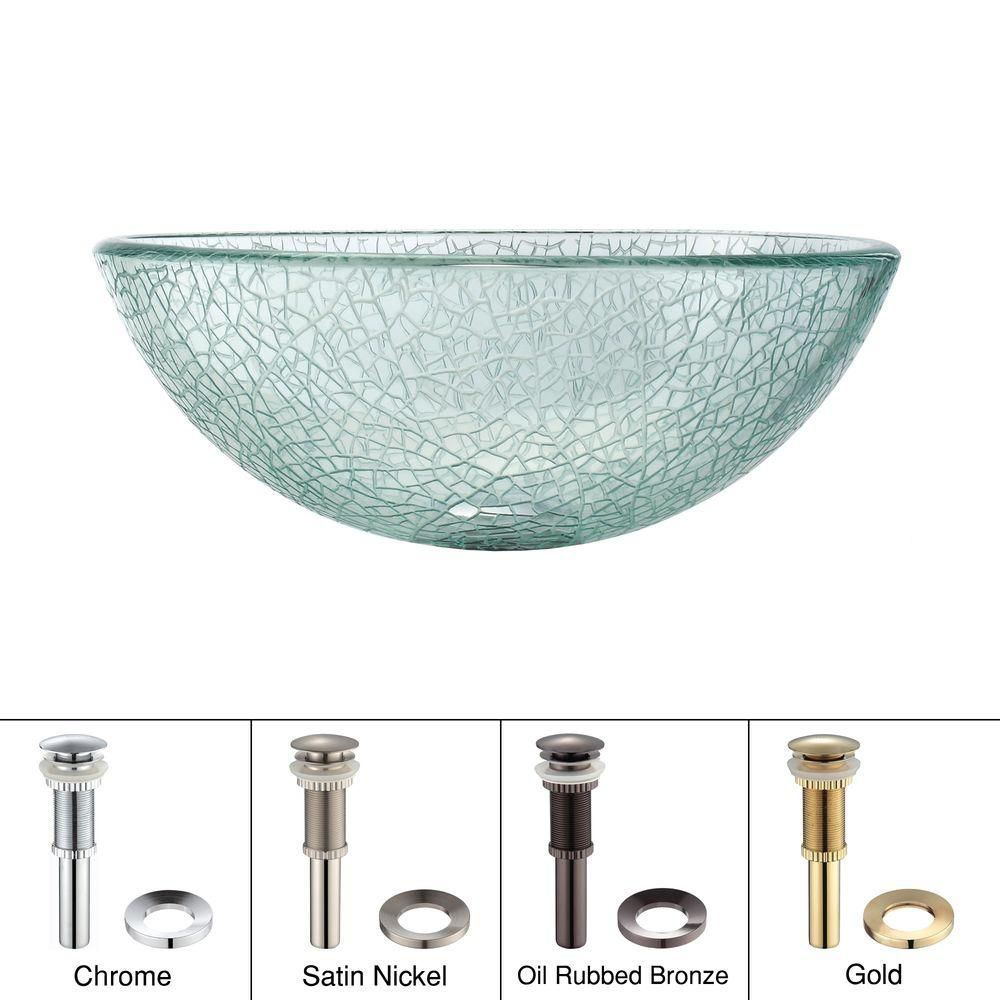 Lavabo-vasque en verre mosaïque de 35,6 cm (14 po) avec drain escamotable et anneau de montage, b...