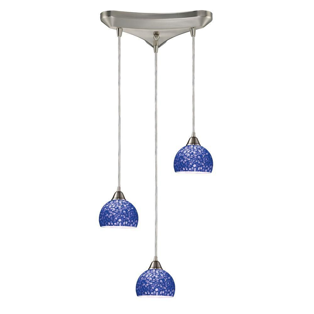 3-Light Ceiling Mount Satin Nickel Pendant