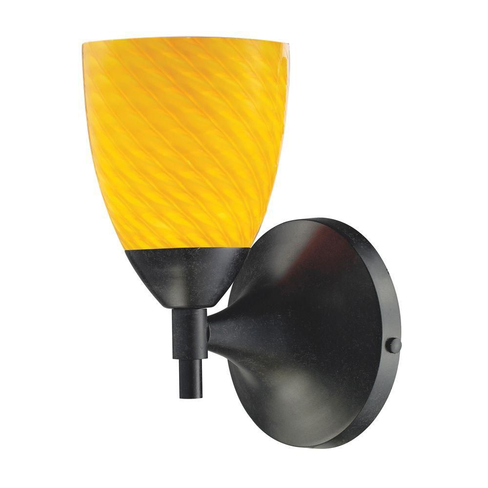 1-Light Wall Mount Dark Rust Sconce