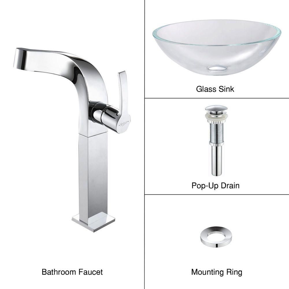 Glass Vessel Sink in Crystal Clear with Typhon Faucet in Chrome