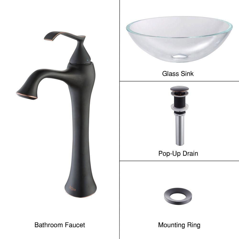 Glass Vessel Sink in Crystal Clear with Ventus Faucet in Oil-Rubbed Bronze