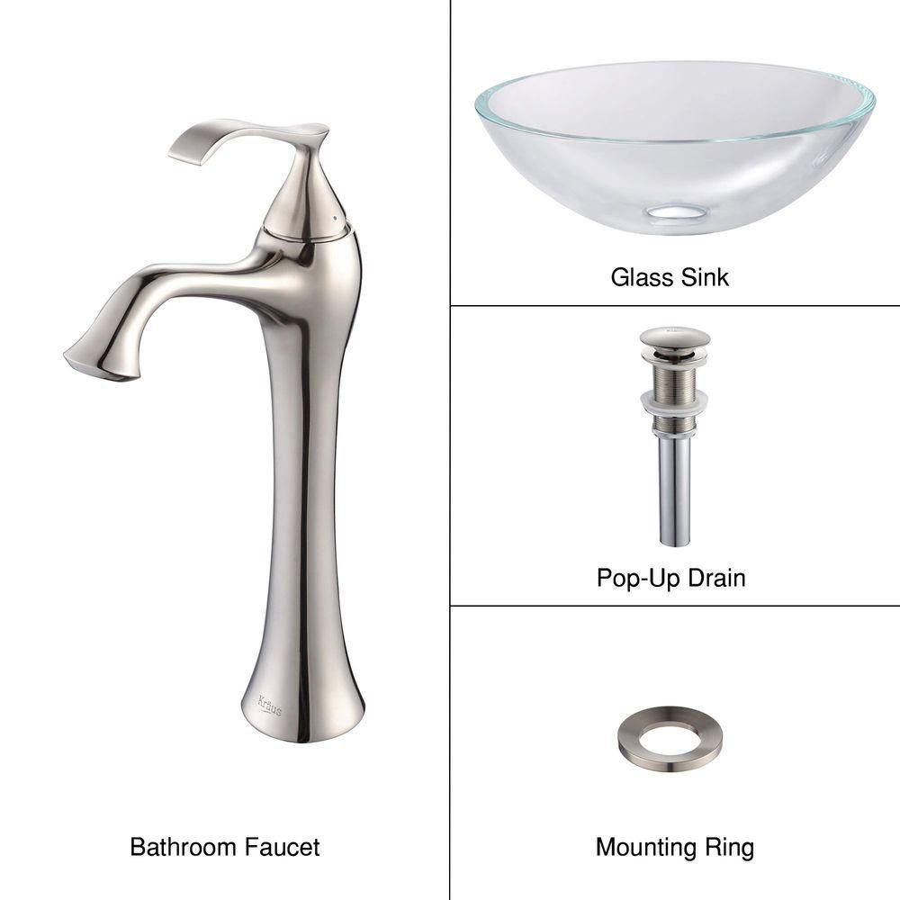 Glass Vessel Sink in Crystal Clear with Ventus Faucet in Brushed Nickel