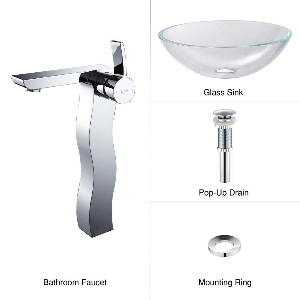 Glass Vessel Sink in Crystal Clear with Sonus Faucet in Chrome