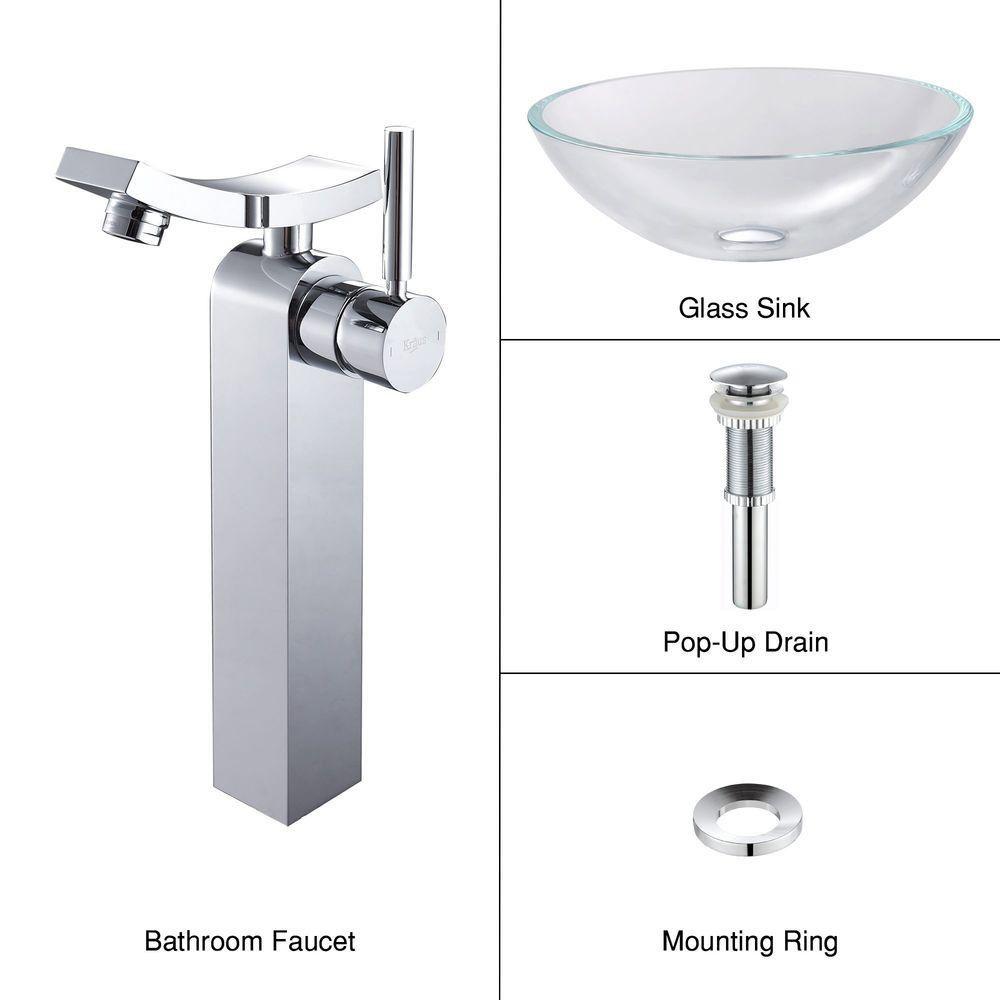 kraus lavabo vasque en cristal et robinet unicus chrome home depot canada. Black Bedroom Furniture Sets. Home Design Ideas